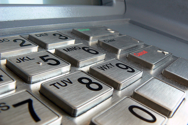 The keypad of an ATM